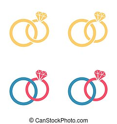 Wedding rings - Vector colorful different wedding rings...