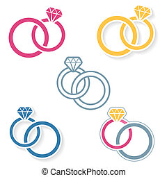 Wedding rings - Vector colorful wedding rings icons on white...