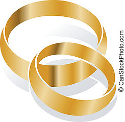wedding rings, vector - golden wedding rings over white,...