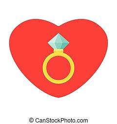 Wedding rings vector icon. Diamond engagement ring vector icon. Flat design
