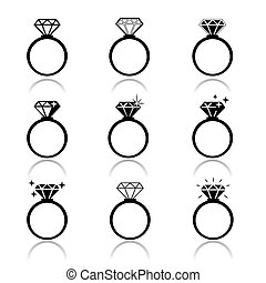 Wedding rings vector icon. Wedding invitation. Jewelry