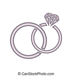 Wedding rings - Vector wedding rings icon on white...