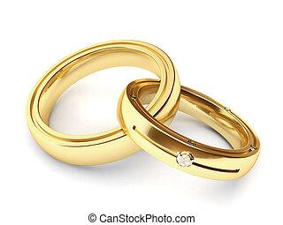 Very high resolution rendering of two wedding rings