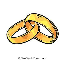 Wedding rings. Vintage black vector engraving illustration