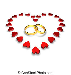 wedding rings - Wedding rings encircled by hearts