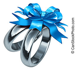 Wedding Rings With a Blue Gift Bow - wedding rings tied with...
