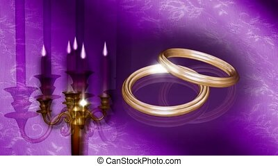 Wedding rings with candelabra