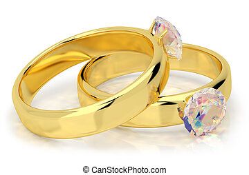 Wedding rings with diamond.