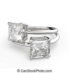 Wedding rings with diamonds. 3D rendering