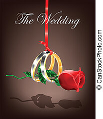 Wedding Rings with Rose Vector