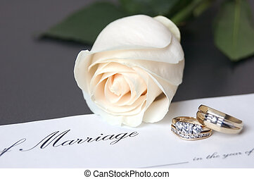 Wedding Rings with white rose & marriage certificate ad ...