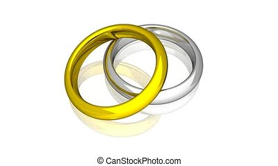 Wedding Rings - Yellow And White Gold - Animation