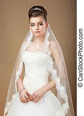 wedding., ritratto, di, signora, con, bianco, velo