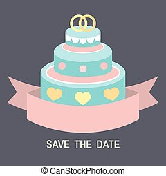 Wedding romantic invitation card with ribbon, ring cake in flat style. Save the Date invitation in vector.