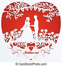 Wedding romantic invitation card with silhouette bride and groom