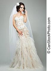 wedding., romantische , sinnlich, braut, mannequin, tragen, ärmellos, weißes, braut kleid