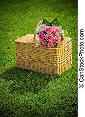 Wedding rose bouquet on a basket