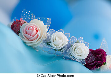 wedding - Rose bridal wreath on blue background.