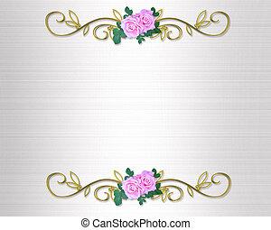 wedding, rosen, einladung