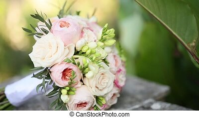 Wedding roses and peonies close up. Wedding in Montenegro.
