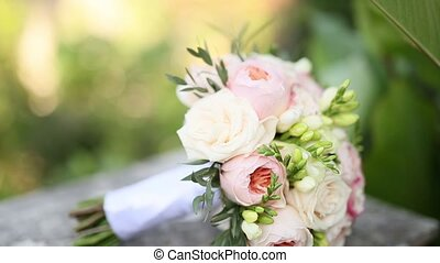 Wedding roses and peonies close up. Wedding in Montenegro