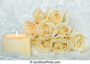 wedding roses - Rose bouquet with candlelight.