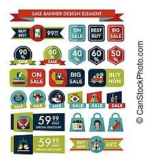 Wedding sale banner flat design background set, eps10
