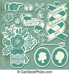 wedding, satz, von, weinlese, design, elements.