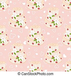 Wedding seamless pattern. Cake with cream red roses and white lilies