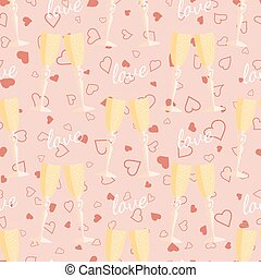 Wedding seamless pattern glasses with champagne