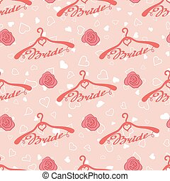 Wedding seamless pattern with hangers for bride