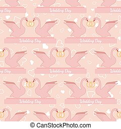 Wedding seamless pattern with pink swans hold gold rings