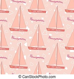 Wedding seamless pattern with sailing yacht