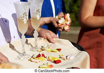 wedding, sektfl�ten