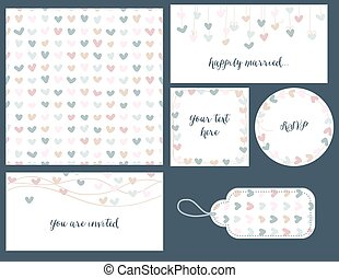 Wedding set hearts design