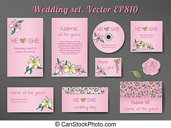 Wedding set of cards templates with lily flowers on pink background