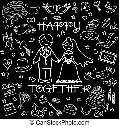 Wedding set, the words Happy together.