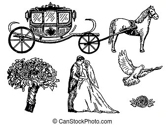 Wedding set vector ink hand drawn illustration