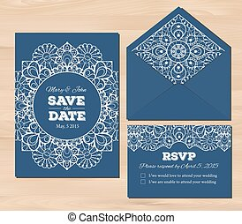 Wedding set with lace elements. Save the date invitation, ...