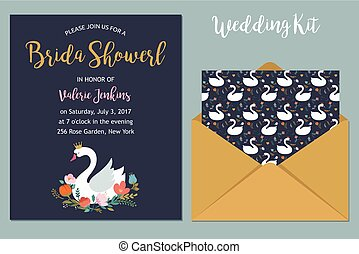 Wedding set with swan illustrations and bridal shower invitation