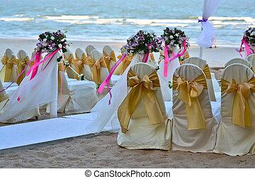 Wedding setting on the beach.
