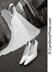 Wedding Shoes and Dress (black and white) - High heel...
