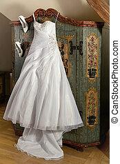 Wedding shoes and dress - Elegant white wedding dress with ...