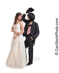 Wedding shoot of  female gay couple, isolated on white