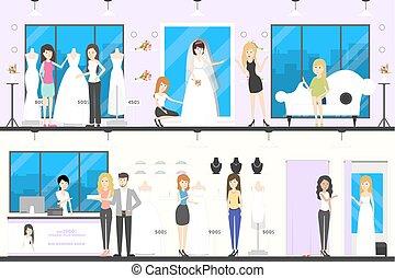 Wedding shop interior set.