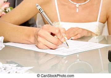 Wedding signature - Bride on solemn registration of marriage...