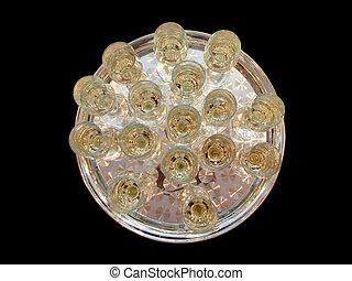 wedding, silbernes tablett, mit, brille, champagner