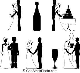 wedding silhouette set vector