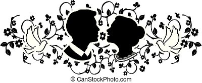 wedding silhouette with flourishes 3