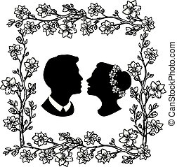 wedding silhouette with flourishes 5
